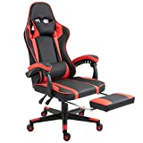 Vinsetto Office Gaming Chair Leather Covered Racing Style Reclining Back and Adjustable Height with Lumbar Support and Extensible Footrest, Red