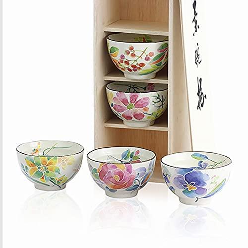 MZDJDM Tazón de Sopa de cerámica de 4 Piezas, no es fácil de Usar y decolorar, Adecuado para lavavajillas, hornos microondas y gabinetes de desinfección, no para hornos