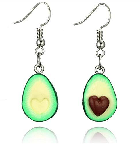 FEARRIN Pendientes de Moda Unisex deDos diseños a Juego con Forma de Aguacate de Fruta Verde Collares Colgantes para Amantes Gilrs Lindo Collar 6045-corazón-café