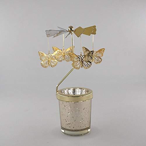 Kaars Pillar Houders kaarsenKandelaars Roterende Romantische Spinning carrousel Thee Licht Kaars Houder Kerstboom Herten Kaarslicht Diner Home Decor Cadeau-vlinder