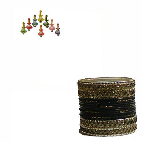 Indische Bangles 24 Armreifen Lovely schwarz Gold 7 cm mit Bindis Bollywood Sari Schmuck