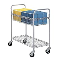 (90cm) - Safco Products Wire Mail Cart, 90cm Wide, Grey, 5236GR