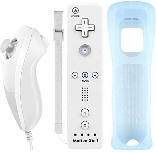 Lyyes Wii Controller with Motion Plus Wii Motion Remote with Nunchuck for Wii Wii U (White)