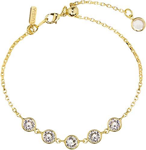 LUISIA® Pulsera Calanthe con cinco cristales de Swarovski®   Selección de colores   Joyas para mujer plata y oro regalo Gold / Crystal Talla única