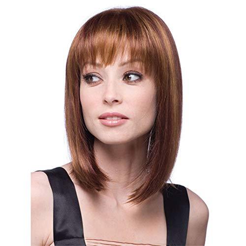 Perruque courte pour femme avec coupe au carré naturelle, cheveux raides synthétiques résistants à la chaleur, apparence réaliste