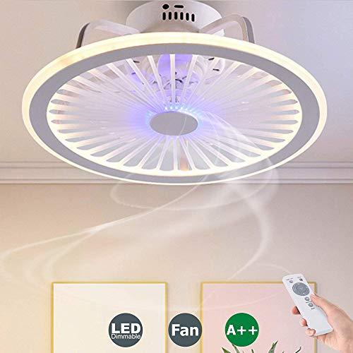 40W Fan Deckenlampe Leise LED Deckenventilatoren Fan Deckenleuchte Mit Beleuchtung Fernbedienung Dimmbarer Ventilator Kronleuchter Für Schlafzimmer Wohnzimmer Kinderzimmer Büro Lampe (Blue)
