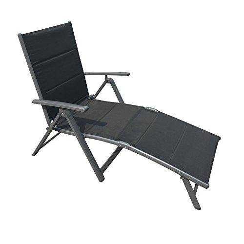 Klappliege Lissabon aus Aluminium mit pflegeleichtem, gepolsterten Textilenebezug, hoher Sitzkomfort durch ergonomische Form, 5- fach verstellbare Rückenlehne, leicht zu transportieren durch kleines Faltmaß, belastbar bis ca. 110 kg, ca. 188 x 65 x 5