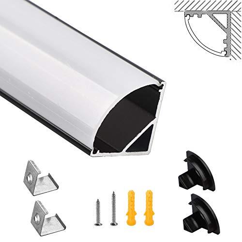 SWAWIS Perfil LED negro 6 × 1 m – Perfil de aluminio LED en forma de V 45 grados para tira LED y tiras LED, canal LED con tapa y clip de fijación, perfil de esquina de aluminio LED
