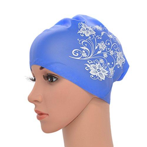 Medifier. Elastico Per Capelli Lunghi In Silicone, Da Donna, Per Piscina, Cuffie, Cappelli, Con Stampa A Fiore, Blue