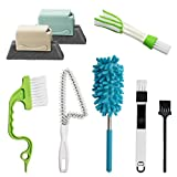 8 Pcs Window Hand-held Cleaning Brush, Door Window Groove Gap Cleaning Tools Microfiber Duster & Washable Crevice Track Cleaning Brush, for Shutter/Keyboard/Air Conditioner/Car Vents/Dust Removal
