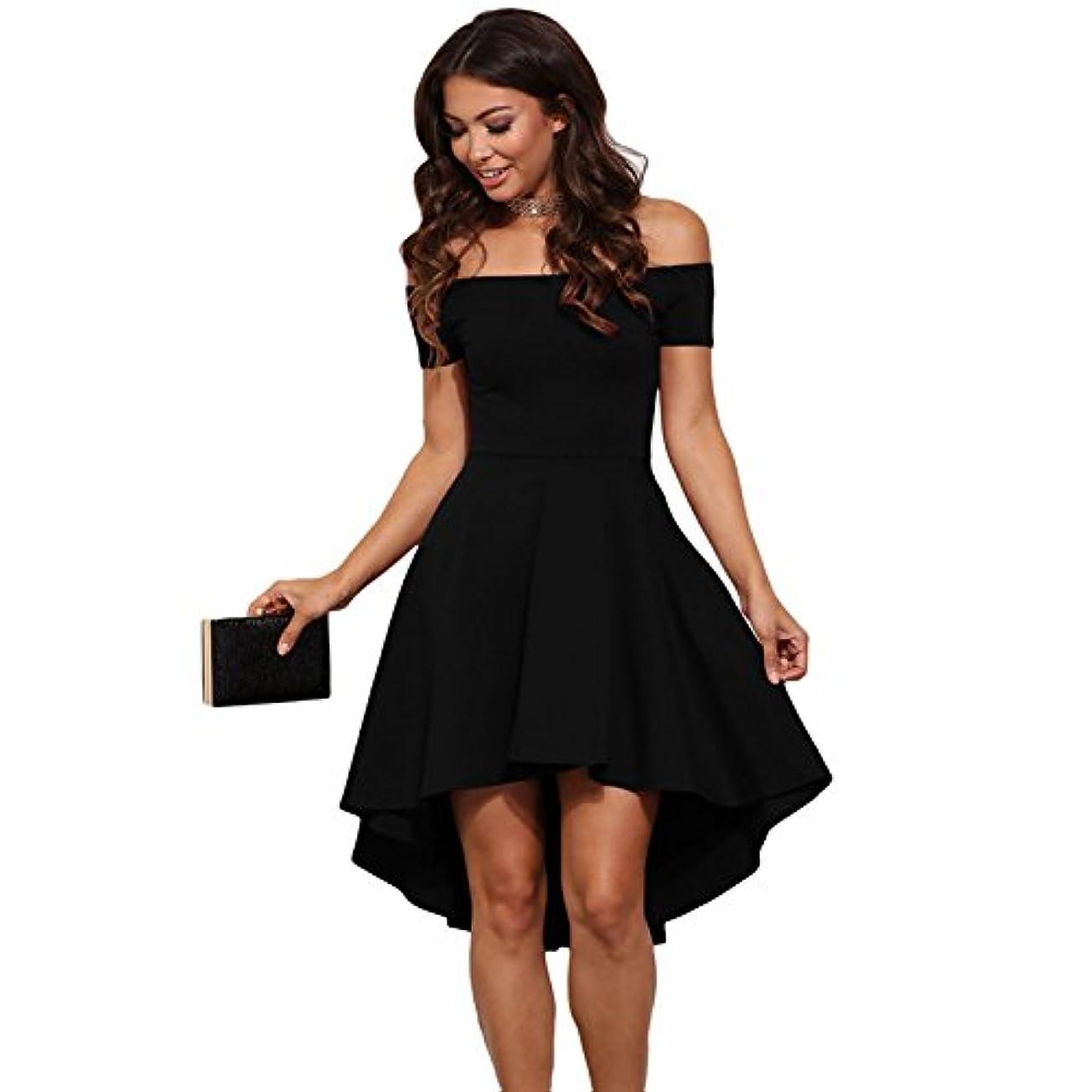 十年しゃがむ違反Onderroa - ヴィンテージ女性のセクシーなスラッシュネックソリッドカラーパーティー秋の新しいファッションAライン黒赤ワイン膝丈のドレスドレス