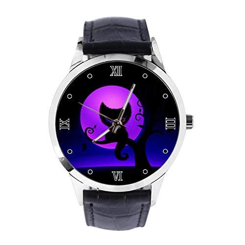 Cheshire - Reloj de pulsera unisex analógico de cuarzo con correa de cuero para niñas y niños