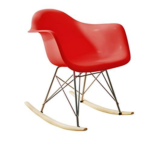 Chaise Unique Accoudoir Tabouret À Bascule Paresseux Loisirs Maison Intérieur Salon Chambre Moderne Minimaliste Balcon Multicolore MUMUJIN (Couleur : Rouge)