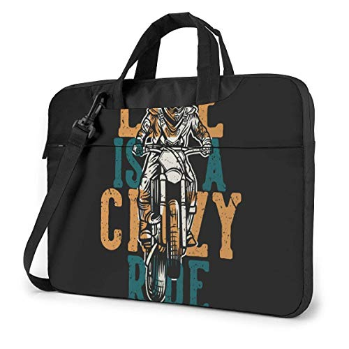 15.6 inch Laptop Shoulder Briefcase Messenger Motocross Motobike Life is Crazy Ride Tablet Bussiness Carrying Handbag Case Sleeve