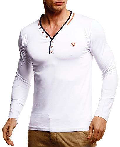 Leif Nelson Herren Longsleeve V-Ausschnitt Slim Fit Baumwolle-Anteil Basic Männer Sweatshirt Pulli weißes Langarmshirt V-Neck Pullover T-Shirt Langarm LN5120T Weiß Medium