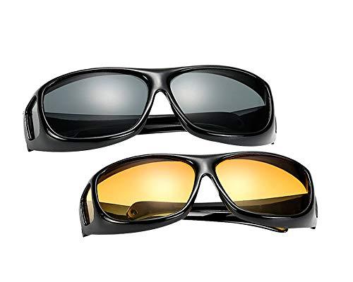 LONMEI Überzieh-Sonnenbrille für Herren und Damen - Polarisiert Nachtsichtbrille | Sonnenbrille UV400 Fit-over für Brillenträger 2er-Set, 2 Stück Sonnenbrille