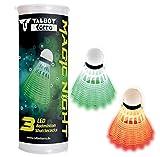 Talbot Torro 479123 Volantes de Badminton Magic Night, Plástico con Luz LED, Aproximadamente 48 Horas de Tiempo de Encendido, 3 Piezas en una Lata