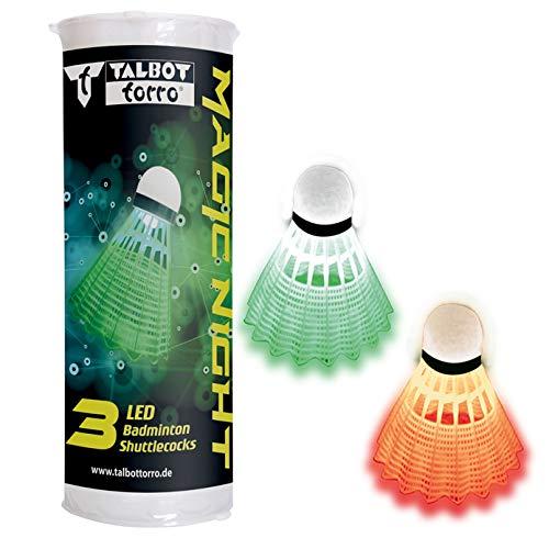 Talbot Torro Badminton Ball Magic Night LED, Kunststofffederball mit LED-Licht, ca. 48 Std. Brenndauer, 3er Dose, Farbe: Weiß &Gelb, für Indoor & Outdoor sowie für das Spiel bei Dunkelheit, 479123