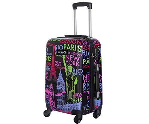 Trolley da cabina 55 cm valigia rigida 4 ruote in abs policarbonato stampato a fantasia antigraffio e impermeabile compatibile voli lowcost come Easyjet Rayanair art Capitali ...
