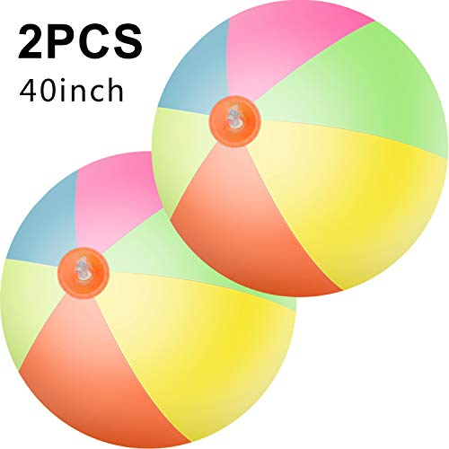 Hsei 2 Pieces 40 Inch Giant Beach Ball Large Inflatable Rainbow Beach Ball Toy for Swimming Pool Beach, Summer Water Entertainment and Birthday Gift Parties