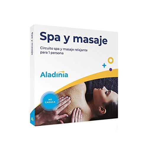 ALADINIA Spa y masaje. Paquete de experiencias para regalar. Cofre con circuito spa y masaje, ideal para hombres o mujeres. Sin caducidad, cambios gratis e ilimitados