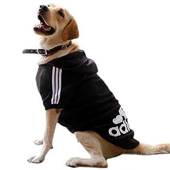 Eastlion Sweat à Capuche Grand Chaud Coton Sweatshirt pour Chiens Pet Pull Vêtements Veste pour Chien Manteau Jumpsuit Costume,Noir,4XL