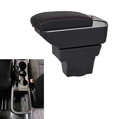 SZSS-CAR - Reposabrazos de cuero con caja de almacenamiento para consola central del coche