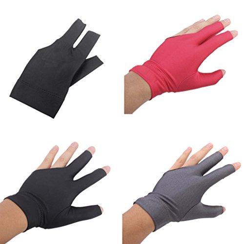 sharprepublic 3 Stück Billardhandschuh 3 Finger Offen Fingerspitzenhandschuh Pool Queue Handschuh Zubehör