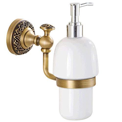 Leidener Messing antik Finish aus massivem Messing Material Badezimmer Seife & Lotion Spender Glas Flasche und Messing Halterung