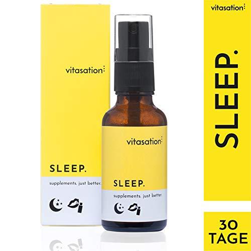 vitasation SLEEP. Mund-Spray zum Schlafen I Schlaf-Spray vegan mit natürlichen Inhaltsstoffen & Vanille I enthält 5-HTP für Serotonin & Melatonin I 1 Monatsvorrat Sleep Spray ohne Gluten & Laktose