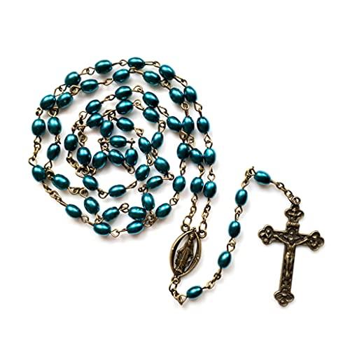 Moosunsa Rosario vintage con cuentas de Jesús crucifijo y crucifijo con Jesucristo,...