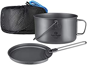 COOK'N'ESCAPE Titanium Camping Cookware - Ultralight 2 Piece 1.5L Hanging Pot and 0.45L Pan with Folding Handle - Outdoor Cookset Open Fire Hiking Backpacking
