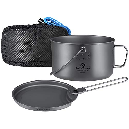 COOK'N'ESCAPE Titanium Camping Cookware 1.95L - Ultralight 2 Piece Hanging...