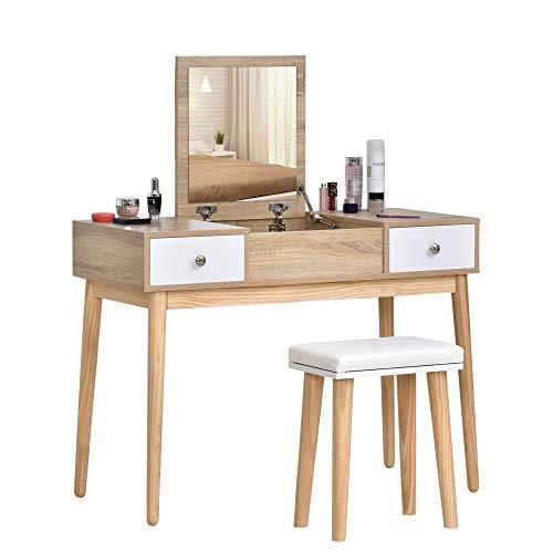 HOMCOM Tocador con Espejo Abatible Mesa de Maquillaje con Taburete Acolchado Cojín Suave Compartimentos y Cajones Patas de Madera Maciza 100x45x118 cm Color Natural