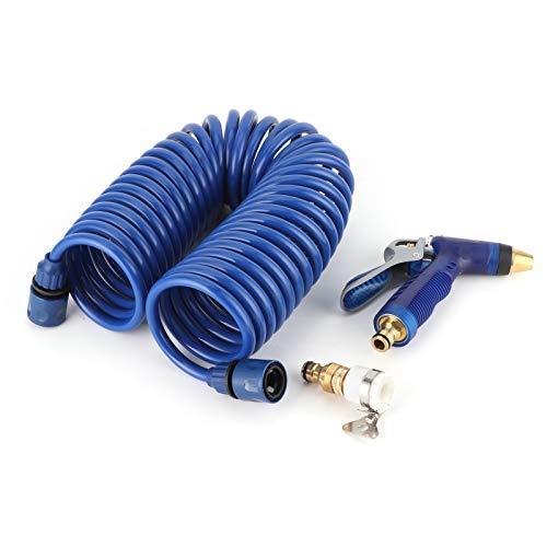 Boquilla de gatillo de manguera en espiral, manguera en espiral de 10 m / 32,8 pies + boquilla de gatillo + adaptador para limpieza de lavado de cubierta de barco
