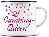 Tazza smaltata da campeggio, divertente idea regalo per campeggio/tazza per amanti del campeggio, idea regalo per campeggio, campeggi - bordo nero