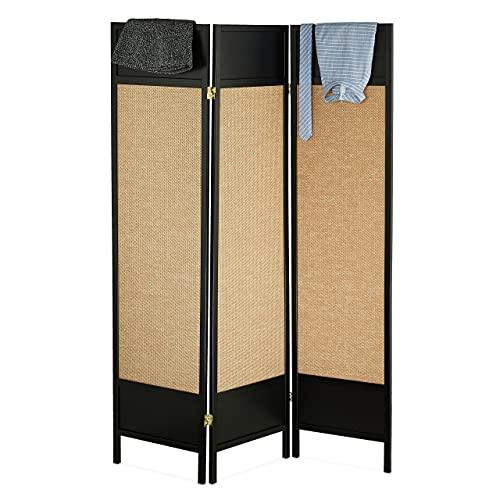 Relaxdays Paravent 3-teilig, freistehender Sichtschutz, HxB: 179x132 cm, Faltbarer Raumtrenner, Holz, schwarz/Hellbraun