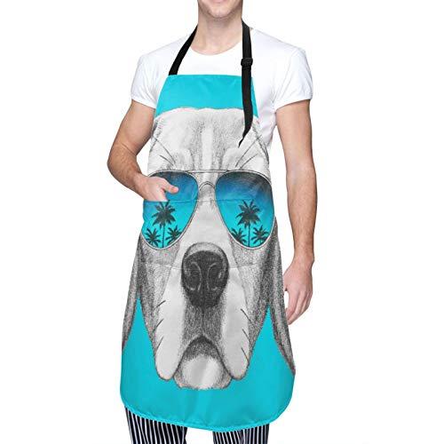 Ajustable Colgante de Cuello Personalizado Delantal Impermeable,Retrato de perro Beagle con gafas de sol espejo dibujado a mano,Babero de Cocina Vestido para Hombres Mujeres con 2 Bolsillos Centrales