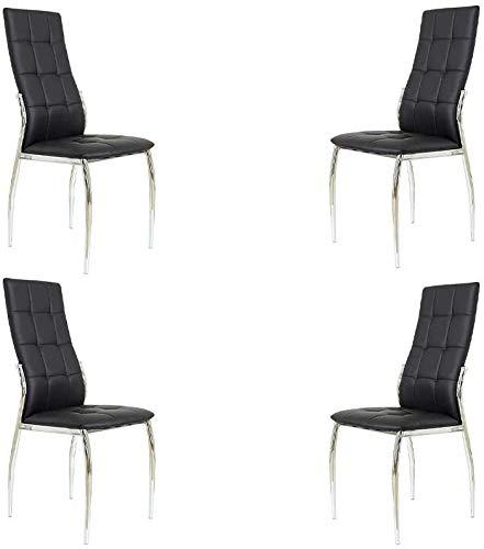 MOMMA HOME Set de 4 Sillas - Modelo Cami - Color Negro/Plata - Material Ecopiel/Metal Cromado - Medidas 46 x 54 x 101 cm