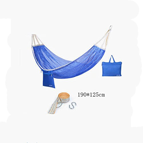 Hamac Outdoor hamac camping camping balançoire hamac hammock alpinisme maille bleue hamac en polyester hamac portable (sac de rangement * 1, sangle de sangle * 1, crochet suspendu * 1), (190 * 125cm)