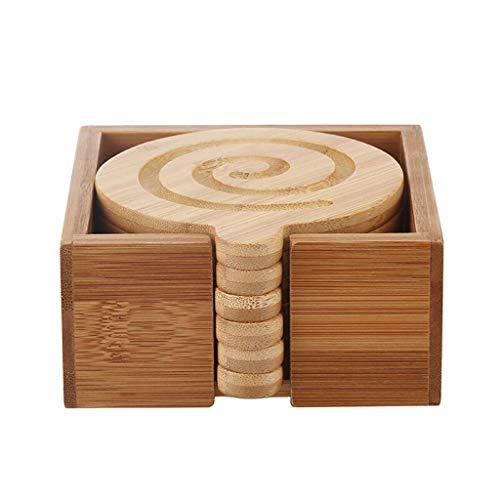 Sottobicchieri per Bevande Set di posate da tavola creative sottobicchiere Set da 6 pezzi in bambù naturale in stile giapponese semplice con staffa Protezione dei Mobili