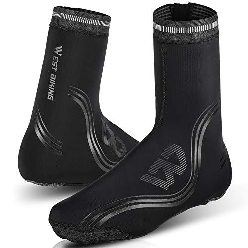 Copriscarpe da ciclismo, caldo, antivento, in neoprene, ad alta visibilità, per la pioggia, la neve, la barca, 1 paio (L, nero)