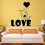 Etiqueta de la pared cachorro mascota perro mascota corazón globo romántico dormitorio de los niños guardería tienda de mascotas decoración de interiores vinilo pared arte