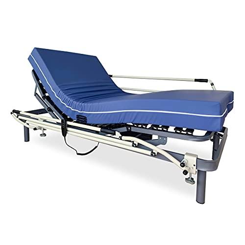 Duérmete Online Pack Cama Articulada Eléctrica Reforzada 5 Planos + Colchón Sanitario Hospitalario Impermeable + Barandillas, Gris Antracita, 90 x 190