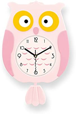 Wall Clock Pink Cute Cartoon Bird