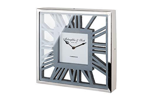 GILDE Uhr - Alu Wanduhr mit grauem Holz für eine AA Batterie 30,5 x 30,5 cm