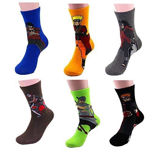 Jintong 6 Pairs Anime Lustige Harajuku Trend Socken Naruto Akatsuki Itachi Lange Socke Cosplay Requisiten Halloween Baumwolle Hip Hop Skateboard Socken