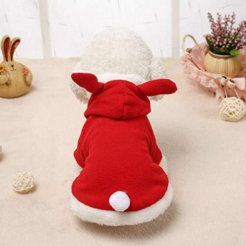 Ropa personalizada para perros Ropa del perro casero, suéter caliente Soft Pink Bunny Ears Tender la ropa, for abrigos for perros suéter del animal doméstico chaquetas con capucha, tamaño: M (rojo)