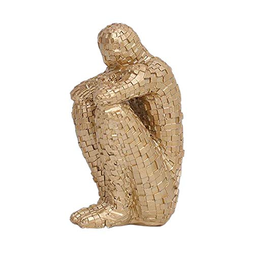 Baoblaze Abstractas Personas Escritorio estatuas Escultura Creativa hogar Sala de Estar gabinete Estante Decoración - de Oro