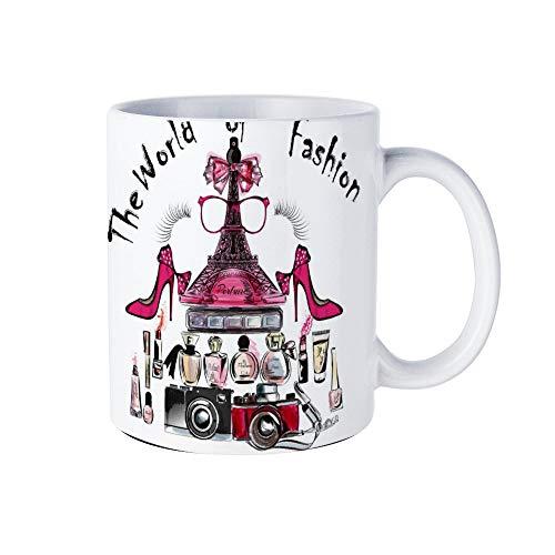 Wendana Eifel Tower Schoenen Lipsticks Parfums En Camera's Mok Kerstmis Novelty Mok Witte Koffie Mok Thee Cup Mok, Verjaardagscadeaus,voor Vrouwen,voor Meisjes,voor Mam,Papa